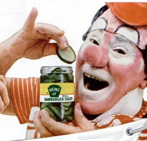 clown pickles 1 In the 1950s Heinz thought clowns would make pickles fun   they didnt (photos)