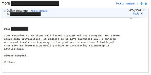 read julian assanges creepy romantic emails