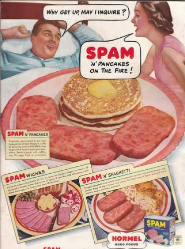 spam Vintage photos of the day   wake up with a Betty Page Spam fed china Elvis tree