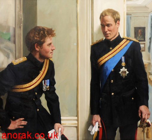 8177863 Prince Harry And Prince William Covered In Oil: Portrait Photos