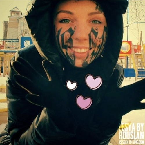 thumbs rouslan toumaniantz 1 One day after meeting Lesya Toumaniantz let Ruslan Toumaniantz tattoo his name on her face (photos)