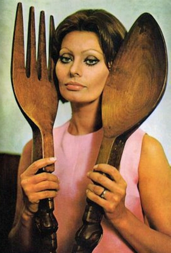 sophia loren 1 1971: Sophia Loren says Eat With Me (and my giant wooden cutlery ears)