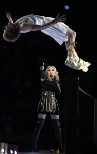 12687905 In photos   Madonna flashes her dark side at Super Bowl final