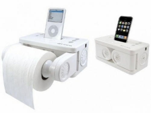 icarta toilet paper and ipod holder 580x435 Games and gadgets to play on the toilet
