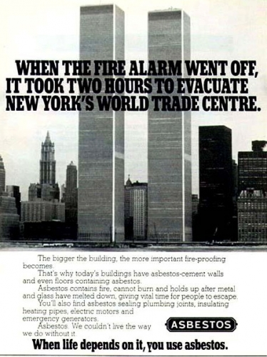 wtcasbestos 0 The Creepiest World Trade Center Adverts