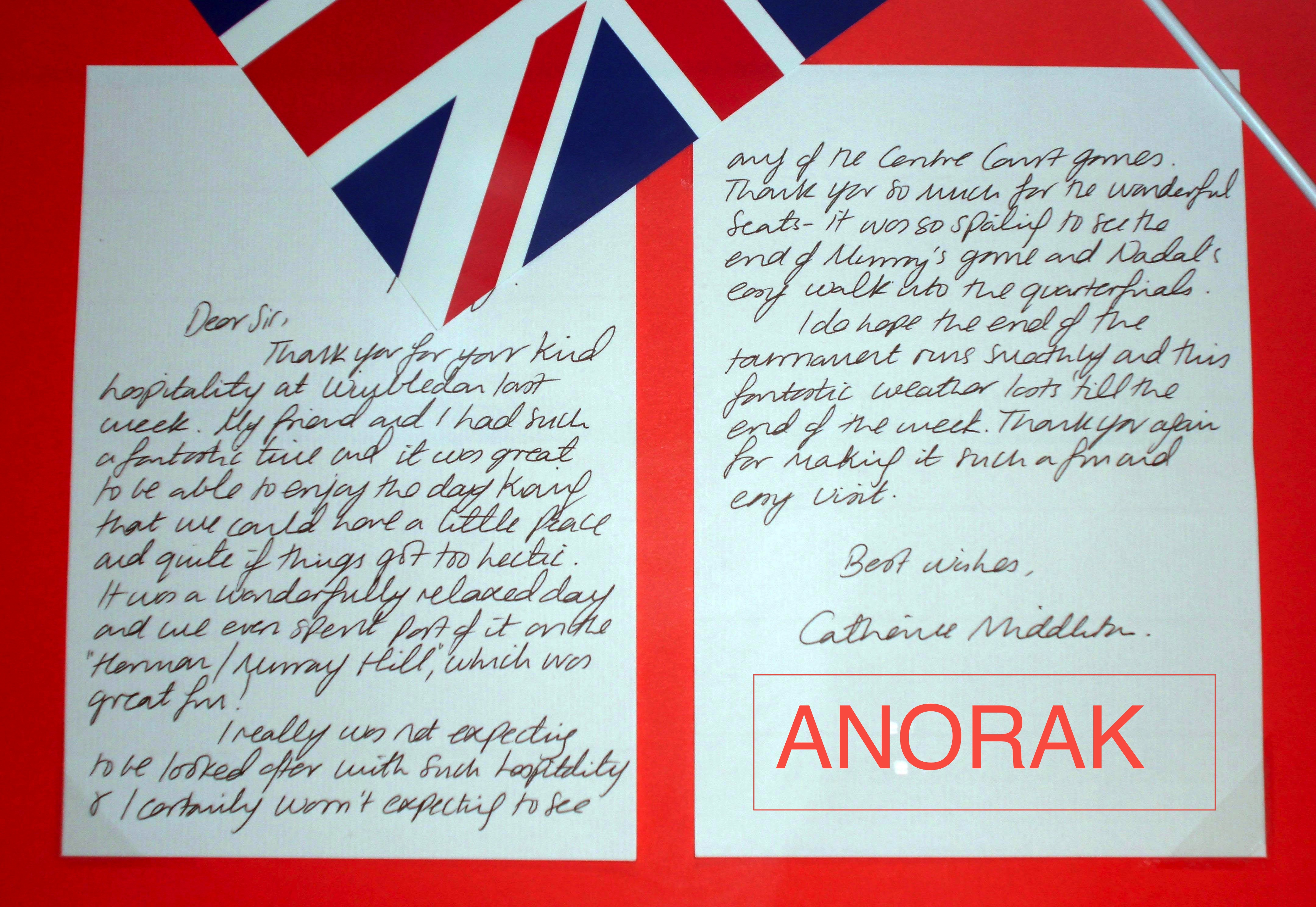 kate middleton Wimbledon letter Most Popular