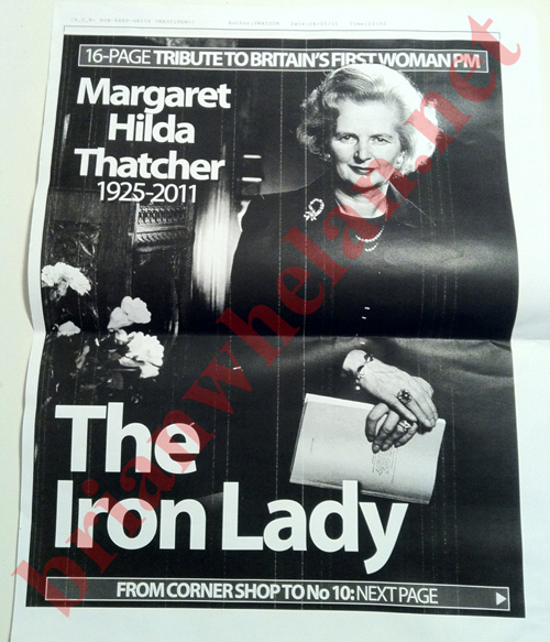 margaret thatcher dead Margaret Thatcher Outlived The News Of The World: That Front Page In Full