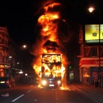 london riots, burning bus