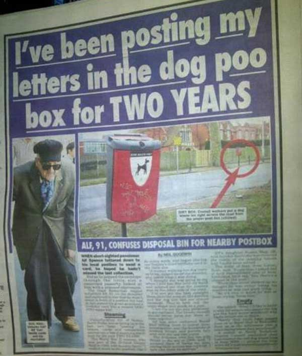 Alf post letters Man Posts Letters In Dog Poo Box For Two Years