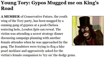 tory bigot Tory Blog Says Muggers Are Gypsies Trying To Be Black