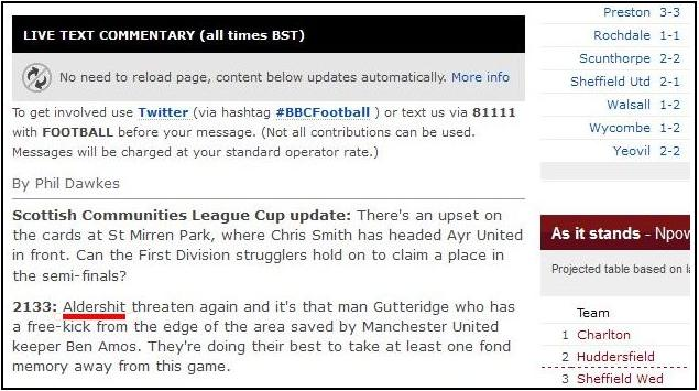 Aldershit manchester united BBC Says Aldershot Are Aldershit