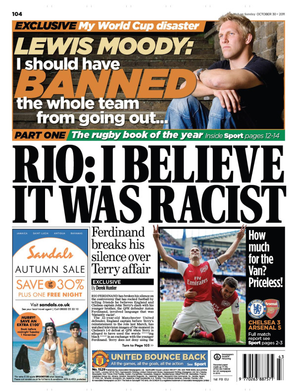 Daily Mail Manchester Uniteds Rio Ferdinand Blasts John Terry? Daily Mail Guns For Chelsea Captain