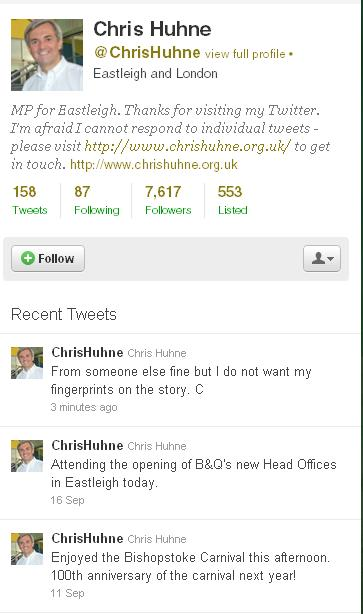chris huhne Chris Huhnes Terrible Tweet: The Fingerprints And The Story