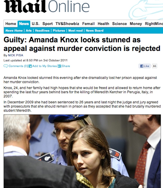 daily mail fail knox 1 Daily Mail And Sun Say Amanda Knox Is Guilty: Race To Be First With News Shames Tabloids