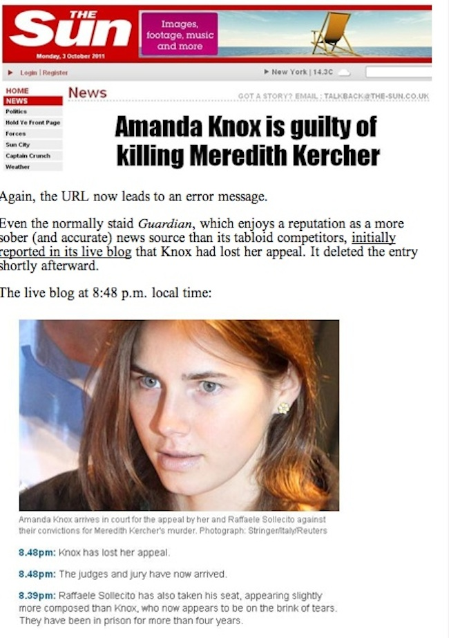 kercher loses  Daily Mail And Sun Say Amanda Knox Is Guilty: Race To Be First With News Shames Tabloids