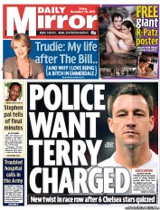 Daily Mirror newspaper front page John Terry Race Row: Daily Mirror Prejudices Investigation Against Chelsea Captain