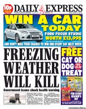 Daily Express Weekend newspaper front page The Daily Express and weather reporting
