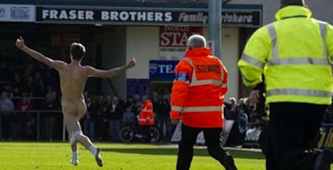 Lewis Fraser Falkirk streaker Lewis Fraser trips over his pants (video)