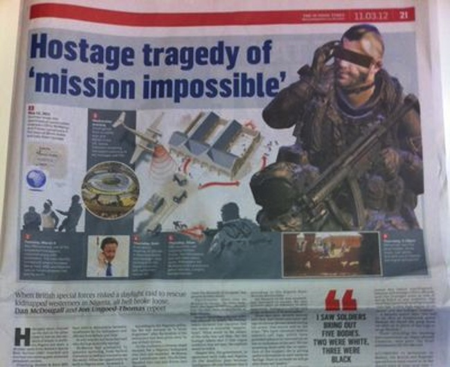 call of duty Sunday Times illustrates fatal Nigeria terror raid with Call of Dutys John Soap MacTavish
