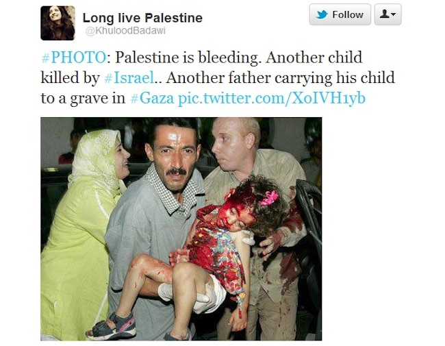 khuloodbadawi tweet1 1 Israel and Gaza Watch: Using dead children Raja Abu Shaban and Nayef Qarmut to win hearts and minds