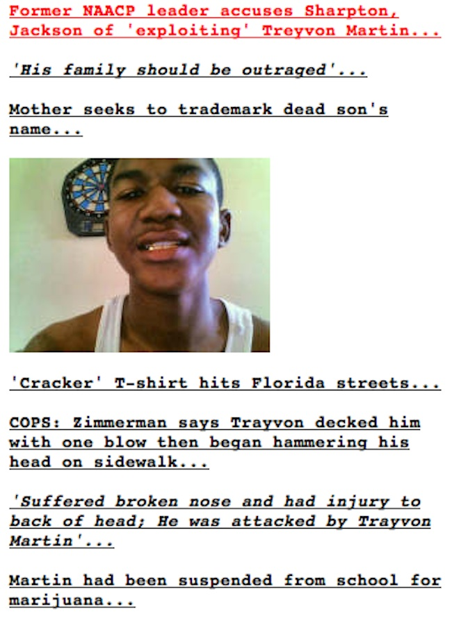 trayvon drudge Raped Trayvon Martin had it coming   well, he was Walking While Black