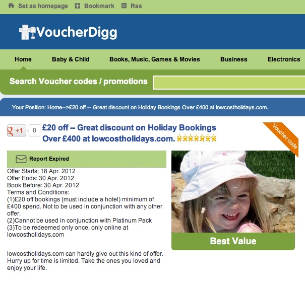 madeleine mccann  Best Value Madeleine McCann is selling holidays on a travel site