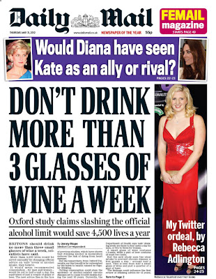 daily mailthree drinks a week How much alcohol should you drink a day? The Daily Mail knows