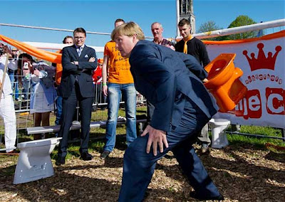 dutch prince Crown Prince Willem Alexander caught tossing with a toilet