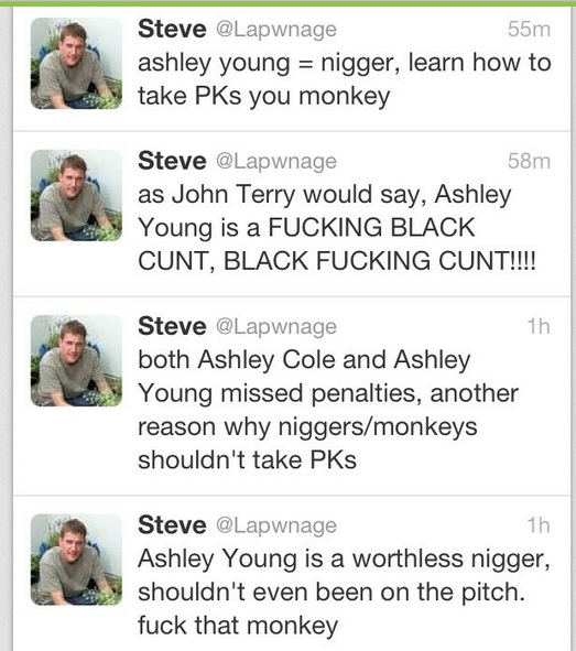 racist tweets The Twitter hunt for racist Steve @Lapwnge: Ashley Cole and Ashley Young must be avenged