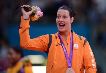 Dutch judoka Edith Bosch bashes the London 2012 100m bottle tosser