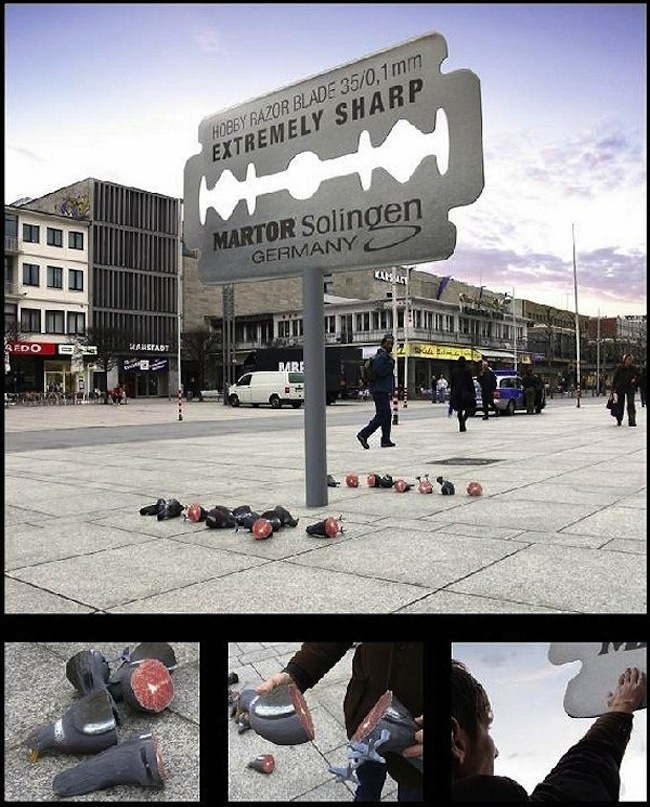 The worlds best billboards: the Martor Solingen razor blade pigeon halfer
