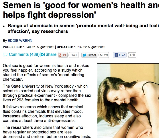 oral sex is good for you  Oral sex and unsafe sex are good for your mental health, says Daily Mail