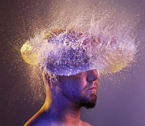 Water Wigs: water ballons hit bald men in the head and give wonderful hair