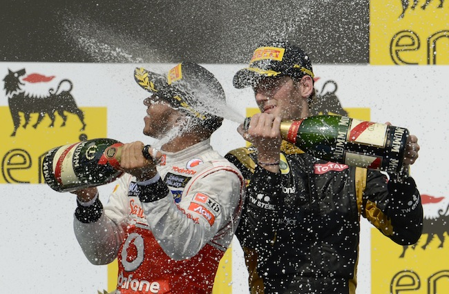 PA 14151676 Mark Webber is Formular Ones best champagne squirter: the 2012 season in photos