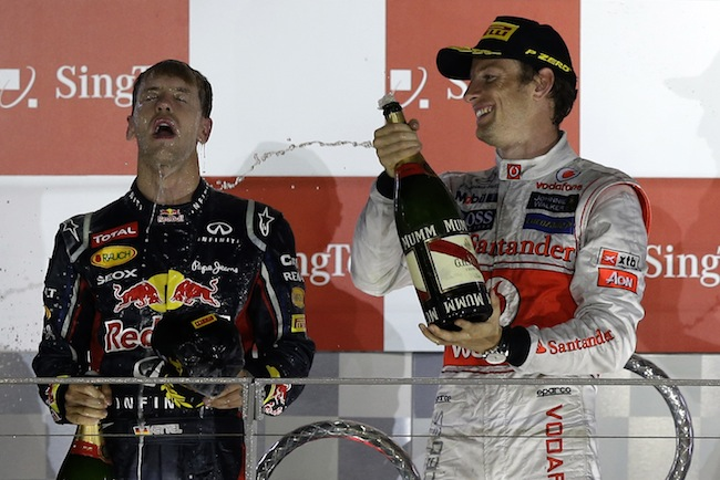 PA 14640177 Mark Webber is Formular Ones best champagne squirter: the 2012 season in photos