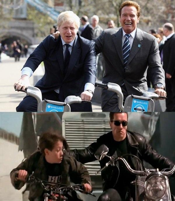 Arnold Schwarzenegger takes Boris Johnsons boots, clothes and Barclays cycle