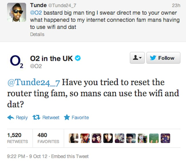 O2 twitter 02 tweets in slang to its hood customers   the Tunde tweets