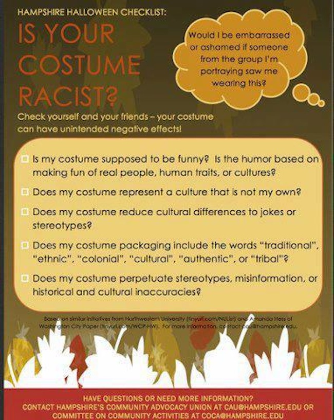 This Hampshire Halloween checklist: Is Your Costume Racist?