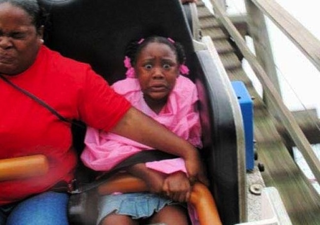 Girls flashing on roller coaster can