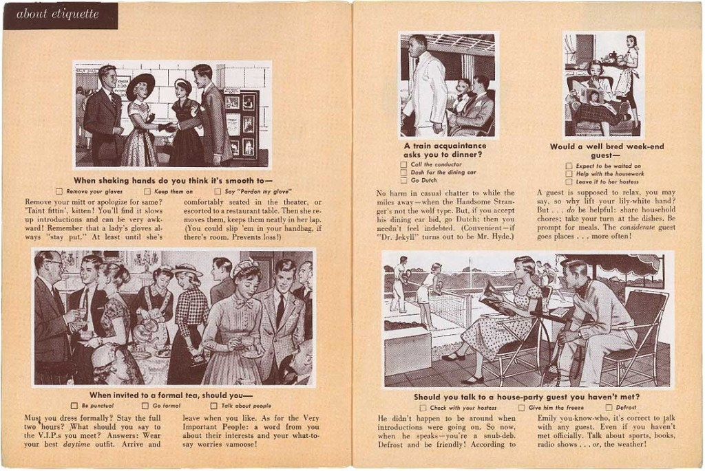 1956: The Are You In The Know? booklet about menstruating, fashion and dating?