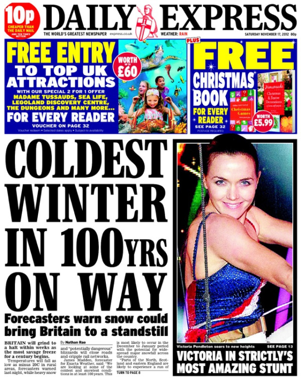 daily express cold Grist.org and Daily Express compete to write biggest bullshit weather story
