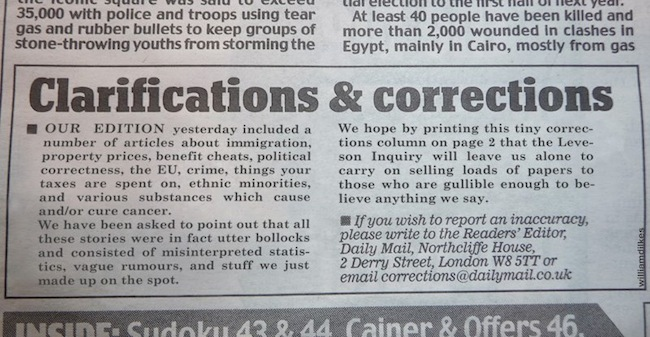 daily mail coreections Daily Mail responds to Lord Levesons report (gives you cancer)