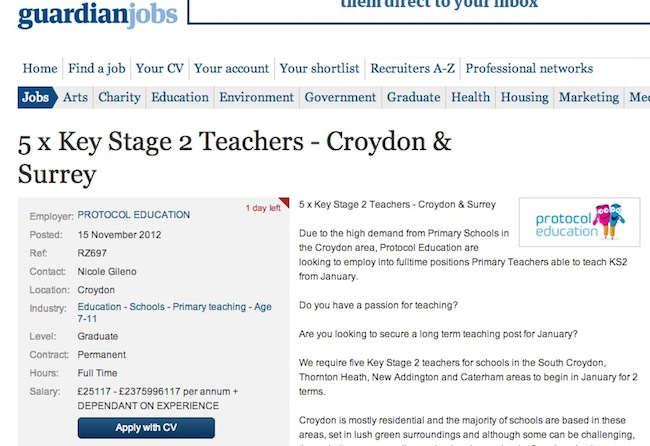 guardian job pays how much Guardian job advert for teacher pays £2375996117 per annum