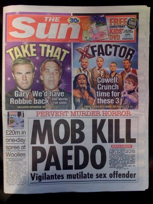 paedo sun 1 Irony overload: The Sun berates the BBC and the Guardian for whipping up paedo hysteria