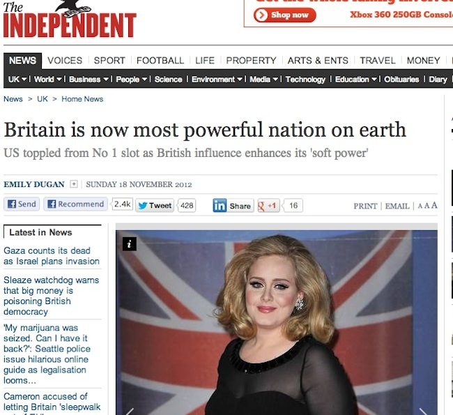 power adele Adele is the most powerful human in most powerful nation of Earth