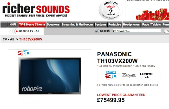 richer sounds tv Panasonics 103 inch screen telly cannot be too big