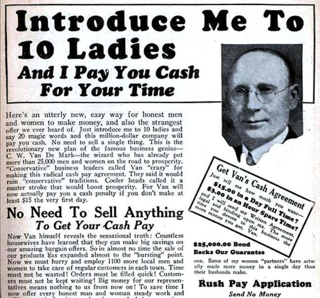 10 ladies Retro advert: Introduce Me to 10 Ladies And I Pay You Cash