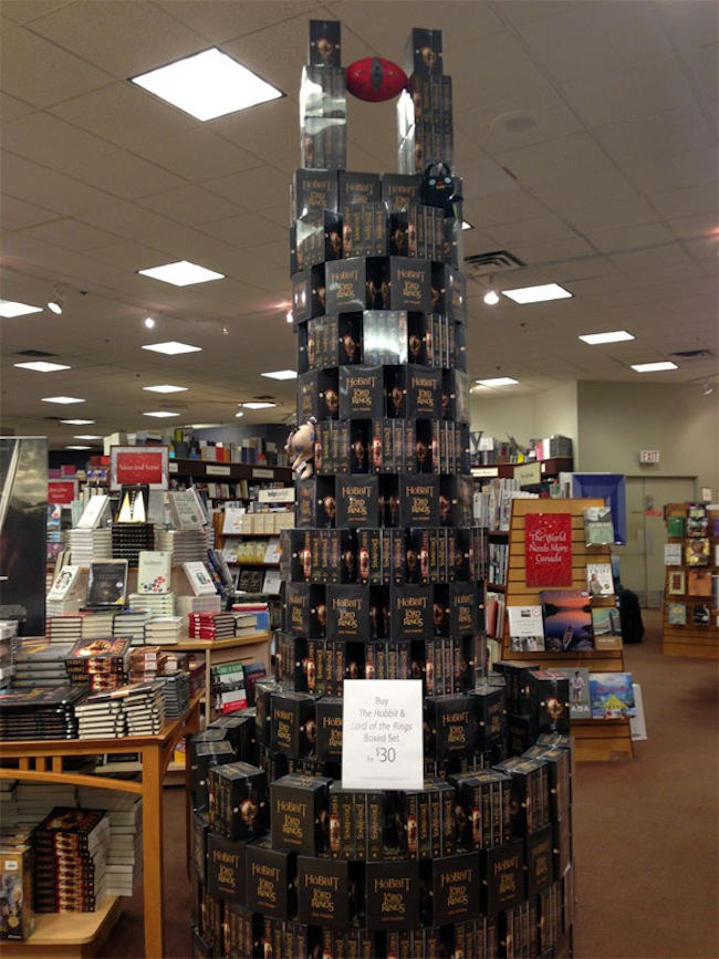 Eye of Sauron made of Stacked Tolkien Books