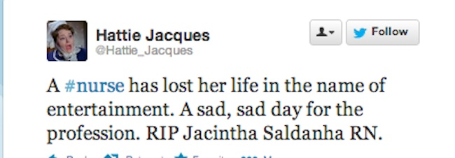 Jacintha Saldanha 12 Reactions to the death of nurse Jacintha Saldanha: Mel Greig and Michael Christian are killers?