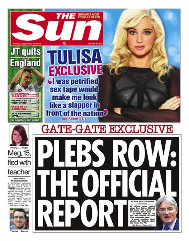 Sun pleb sep 24 Plebgate: The Sun and the police used Andrew Mitchell to escape Hillsborough